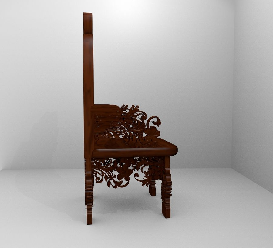 Romanesque Ornamental Chairwood royalty-free 3d model - Preview no. 7