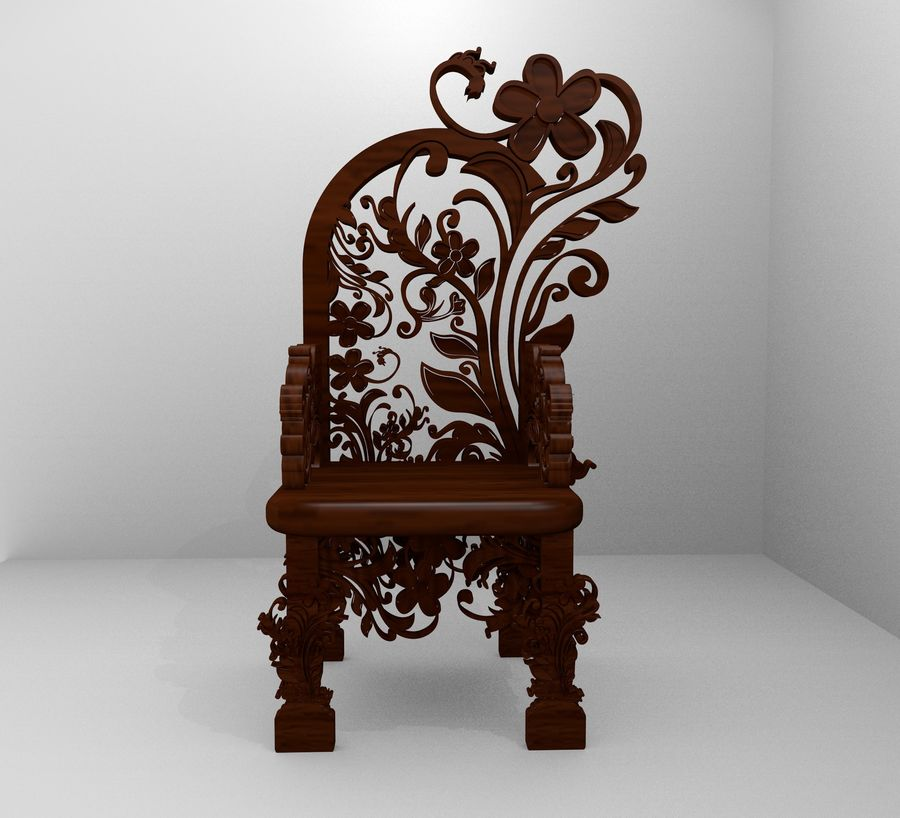 Romanesque Ornamental Chairwood royalty-free 3d model - Preview no. 1