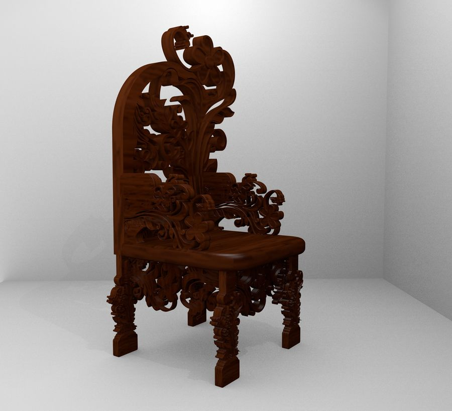 Romanesque Ornamental Chairwood royalty-free 3d model - Preview no. 8
