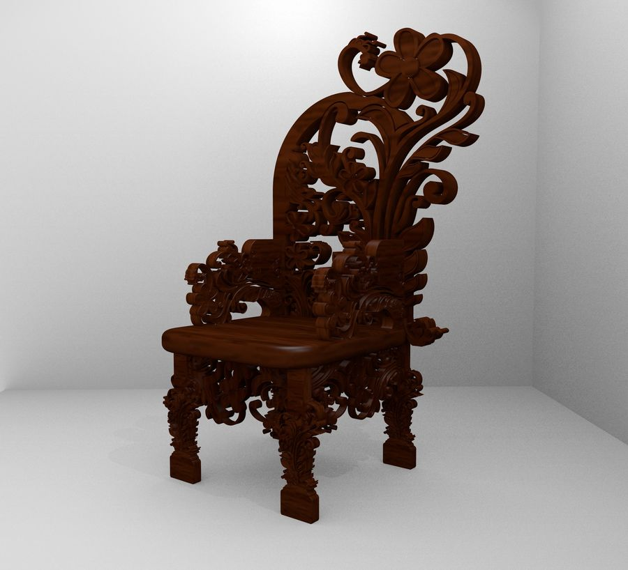Romanesque Ornamental Chairwood royalty-free 3d model - Preview no. 2