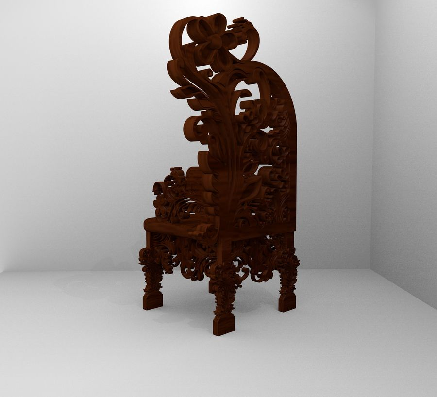 Romanesque Ornamental Chairwood royalty-free 3d model - Preview no. 4