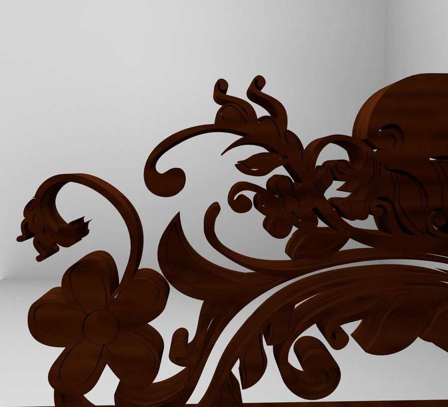 Romanesque Ornamental Chairwood royalty-free 3d model - Preview no. 10