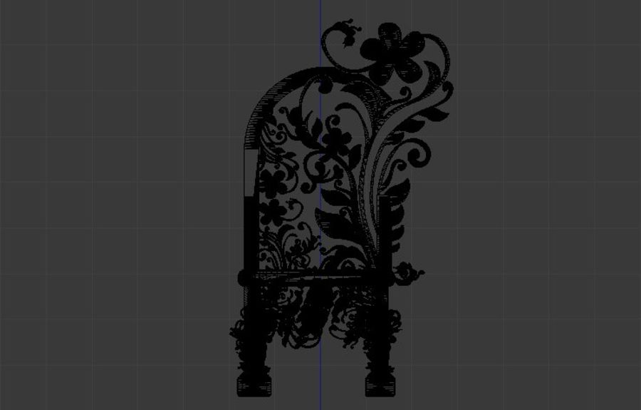 Romanesque Ornamental Chairwood royalty-free 3d model - Preview no. 12