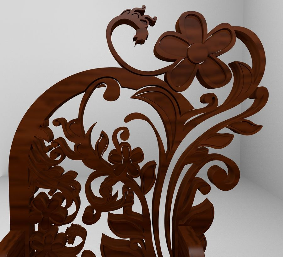 Romanesque Ornamental Chairwood royalty-free 3d model - Preview no. 9