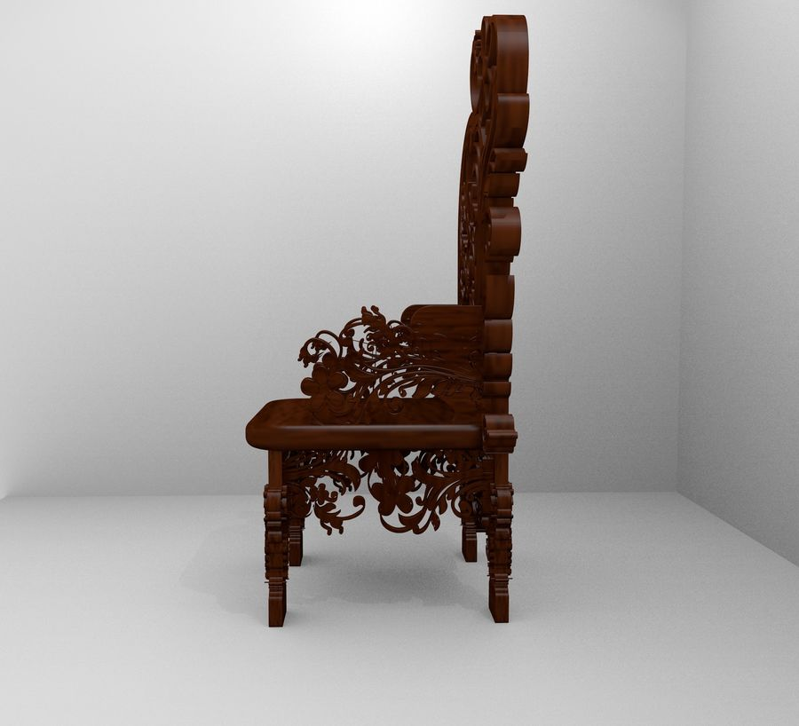 Romanesque Ornamental Chairwood royalty-free 3d model - Preview no. 3