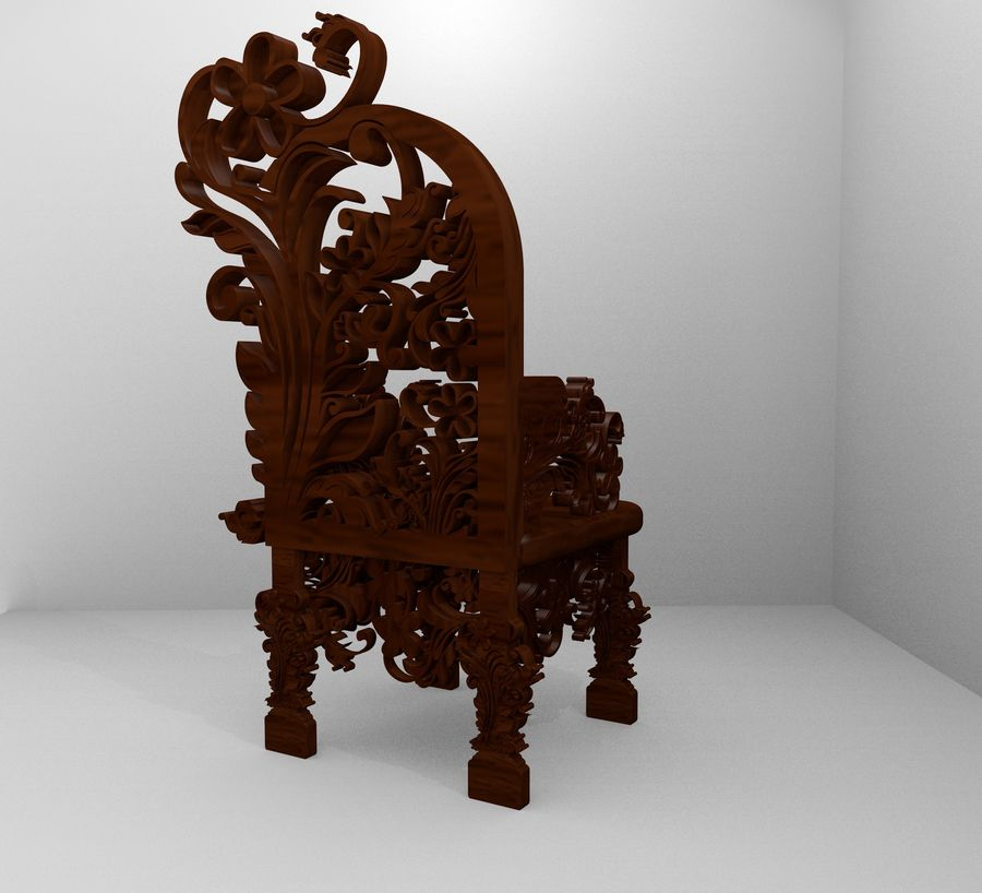 Romanesque Ornamental Chairwood royalty-free 3d model - Preview no. 6