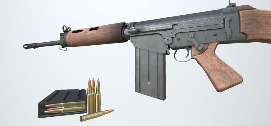 PBR FN FALライフルウッド royalty-free 3d model - Preview no. 7