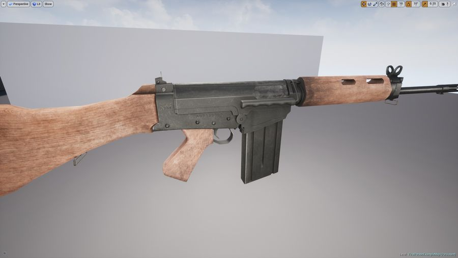 PBR FN FALライフルウッド royalty-free 3d model - Preview no. 10
