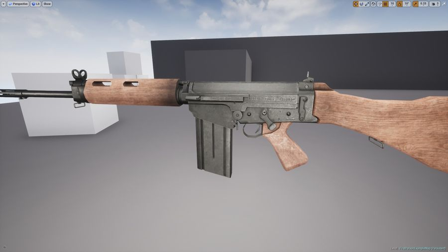 PBR FN FALライフルウッド royalty-free 3d model - Preview no. 9