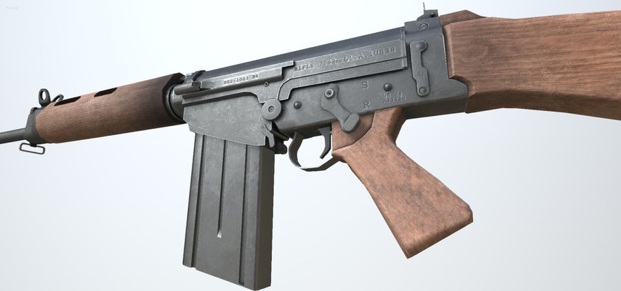 PBR FN FALライフルウッド royalty-free 3d model - Preview no. 3