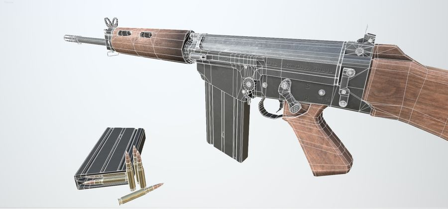 PBR FN FALライフルウッド royalty-free 3d model - Preview no. 11