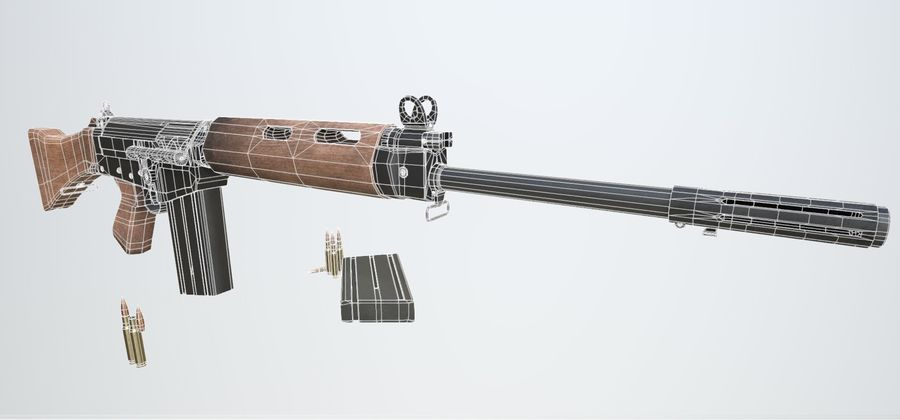 PBR FN FALライフルウッド royalty-free 3d model - Preview no. 12
