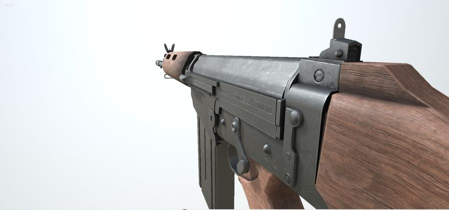 PBR FN FALライフルウッド royalty-free 3d model - Preview no. 5