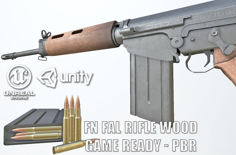 PBR FN FALライフルウッド royalty-free 3d model - Preview no. 1