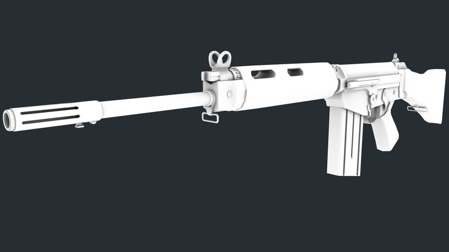 PBR FN FALライフルウッド royalty-free 3d model - Preview no. 15