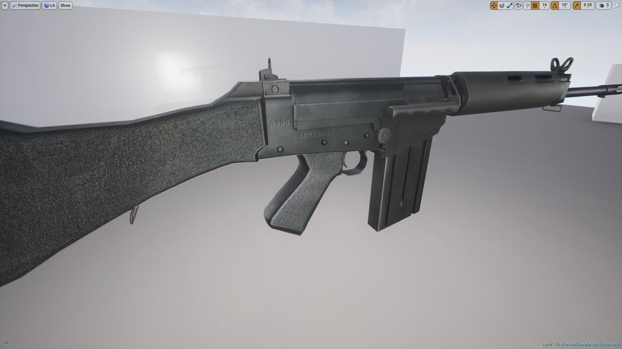 PBR FN FAL Винтовка черная royalty-free 3d model - Preview no. 10
