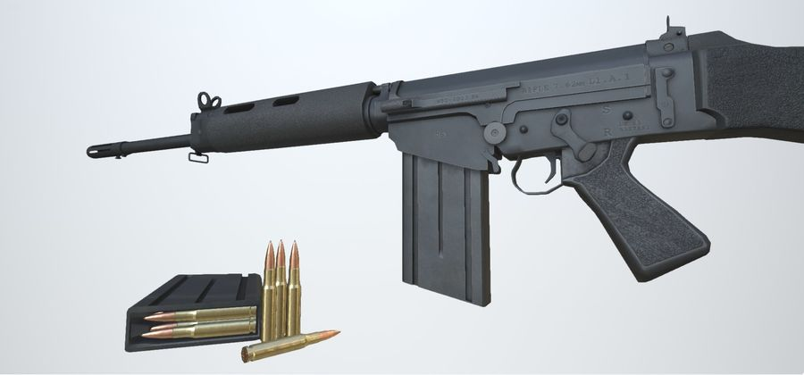 PBR FN FAL Винтовка черная royalty-free 3d model - Preview no. 3