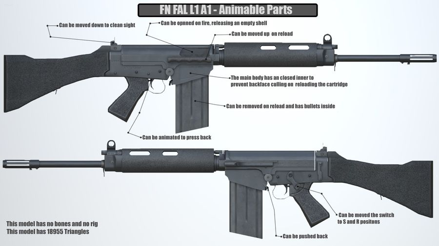 PBR FN FAL Винтовка черная royalty-free 3d model - Preview no. 2
