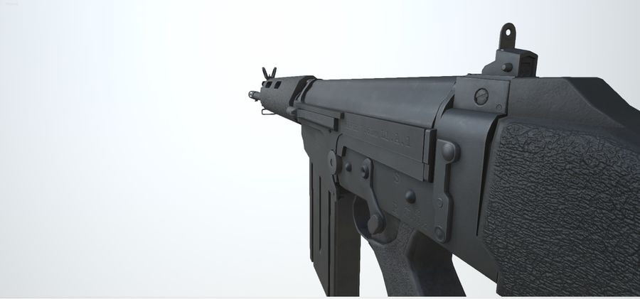 PBR FN FAL Винтовка черная royalty-free 3d model - Preview no. 7