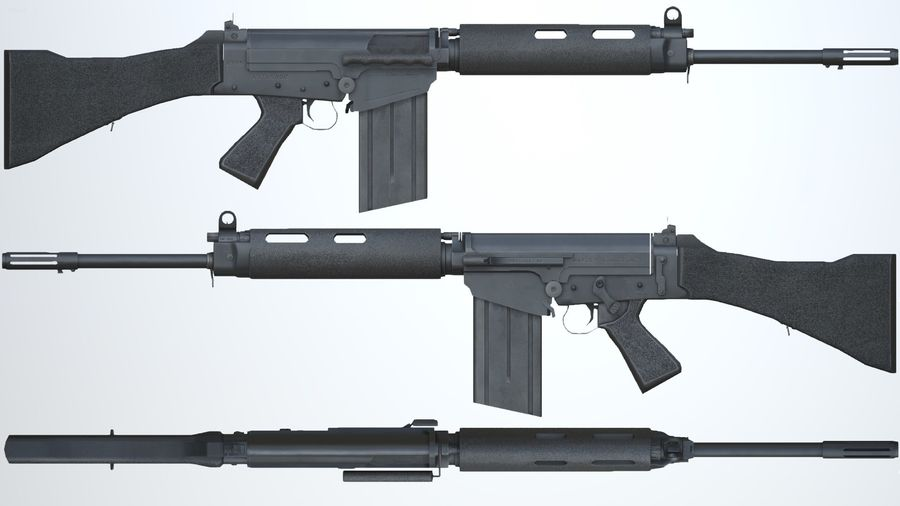 PBR FN FAL Винтовка черная royalty-free 3d model - Preview no. 4