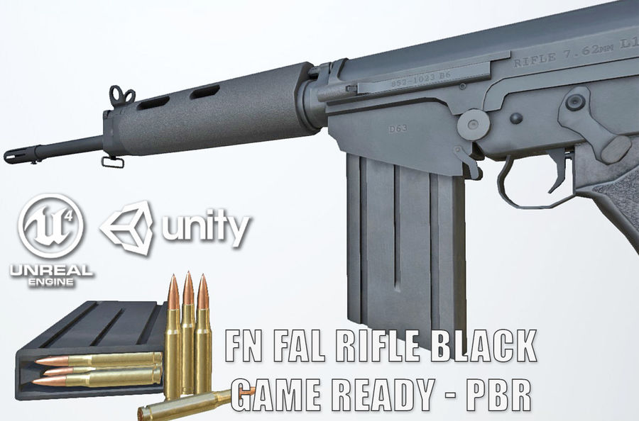 PBR FN FAL Винтовка черная royalty-free 3d model - Preview no. 1
