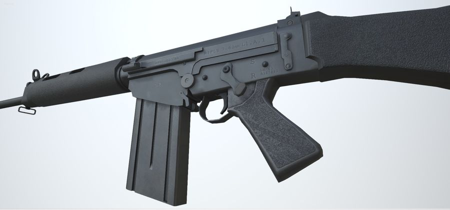 PBR FN FAL Винтовка черная royalty-free 3d model - Preview no. 5