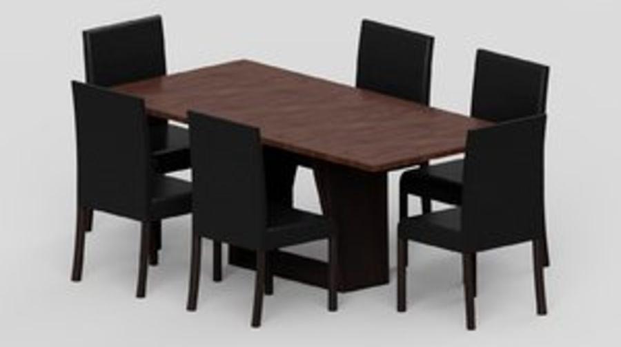 Современный деревянный стол со стульями royalty-free 3d model - Preview no. 1