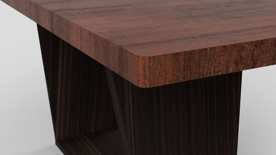 Современный деревянный стол со стульями royalty-free 3d model - Preview no. 8