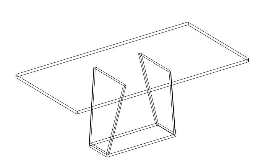 Современный деревянный стол со стульями royalty-free 3d model - Preview no. 3