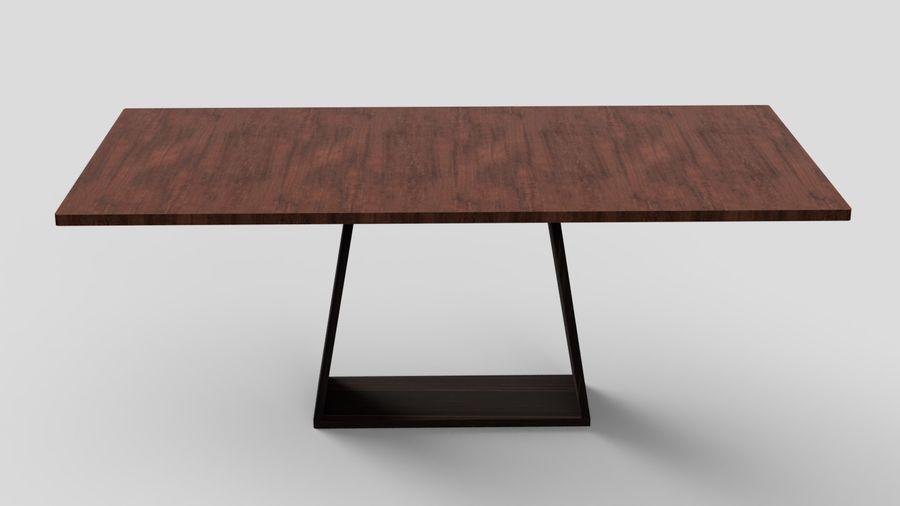 Современный деревянный стол со стульями royalty-free 3d model - Preview no. 5
