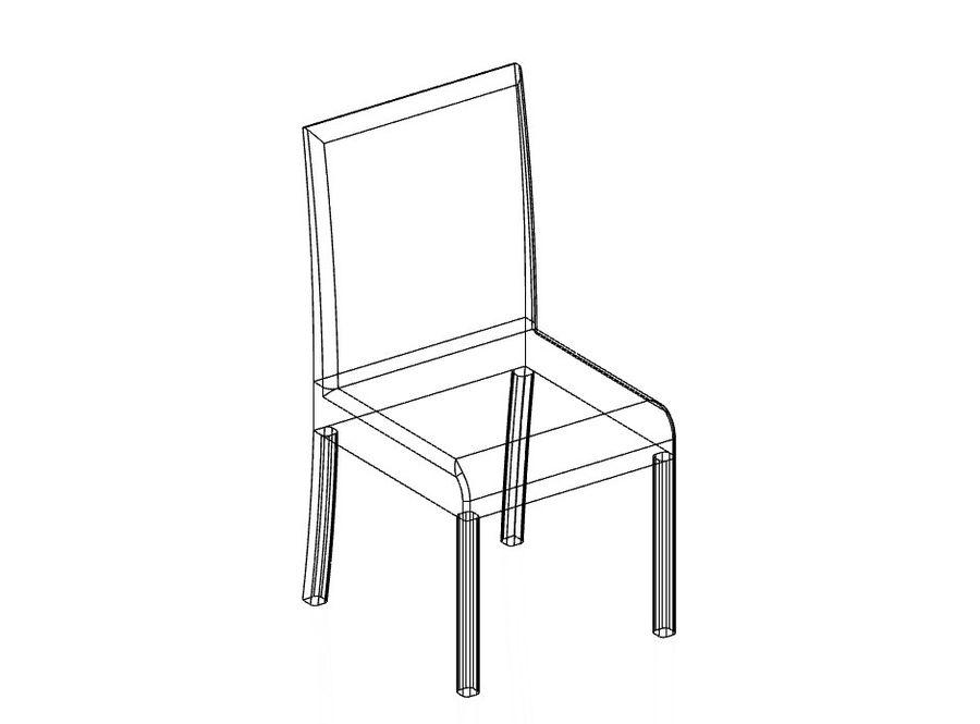 现代木桌和椅子 royalty-free 3d model - Preview no. 2