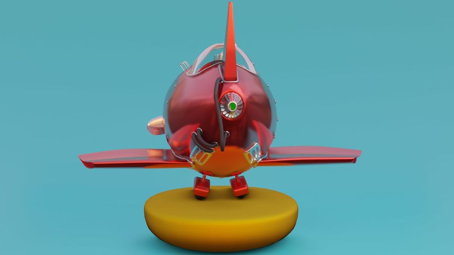 cartone animato aereo royalty-free 3d model - Preview no. 3
