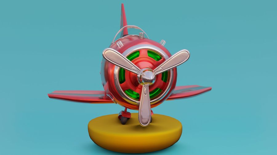 cartone animato aereo royalty-free 3d model - Preview no. 4