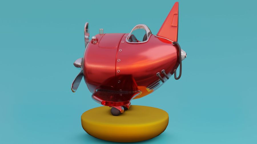cartone animato aereo royalty-free 3d model - Preview no. 2