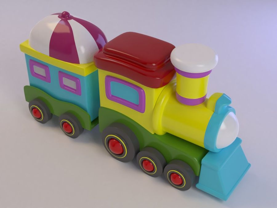 漫画のおもちゃの列車004 royalty-free 3d model - Preview no. 7
