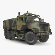 Medium Tactical Vehicle 6x6 with Tent Dusty Rigged 3d model