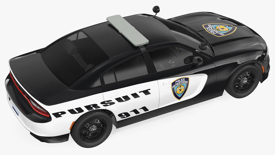 Politieauto royalty-free 3d model - Preview no. 13