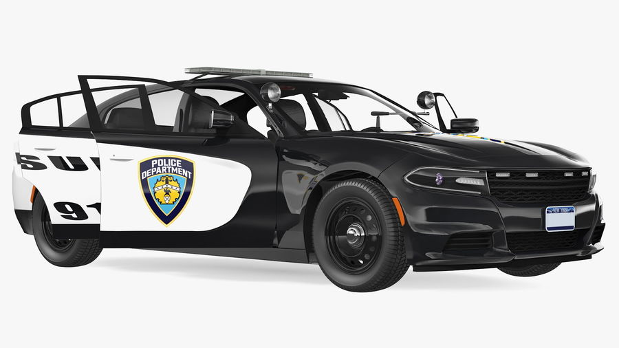 Politieauto royalty-free 3d model - Preview no. 3