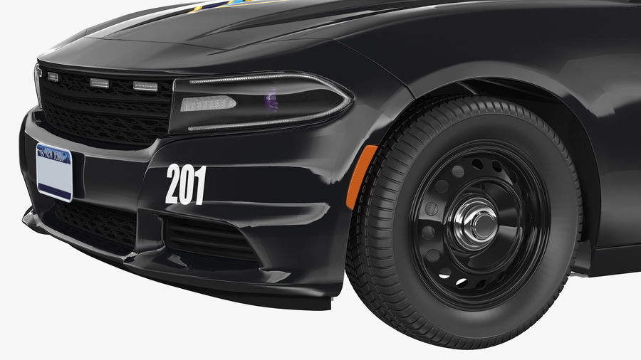 Politieauto royalty-free 3d model - Preview no. 17
