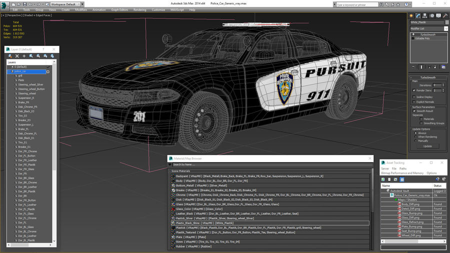Politieauto royalty-free 3d model - Preview no. 27