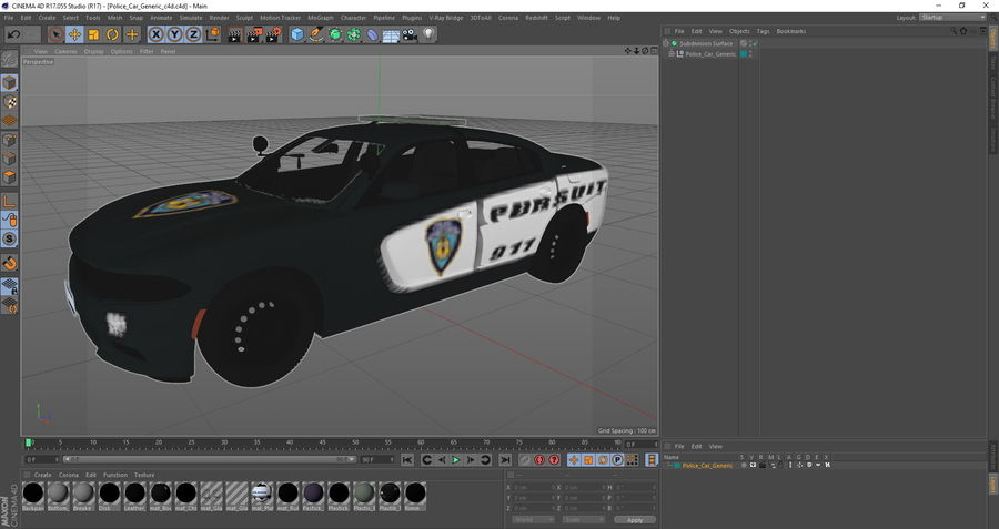 Politieauto royalty-free 3d model - Preview no. 25