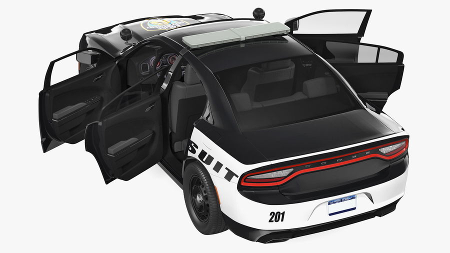 Politieauto royalty-free 3d model - Preview no. 14