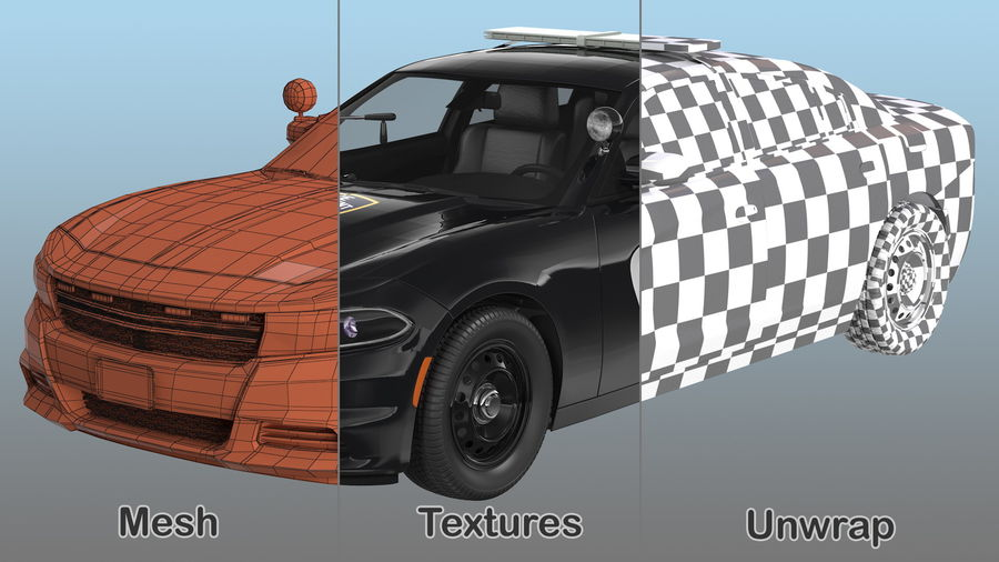 Politieauto royalty-free 3d model - Preview no. 20