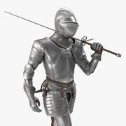 Pose de marche d'armure de plaque de chevalier médiéval 3d model