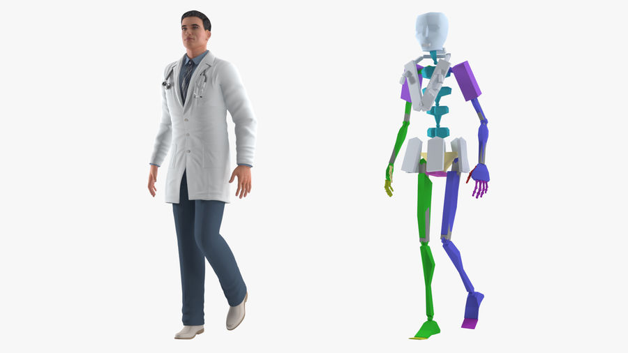 Male Doctor Rigged royalty-free 3d model - Preview no. 5