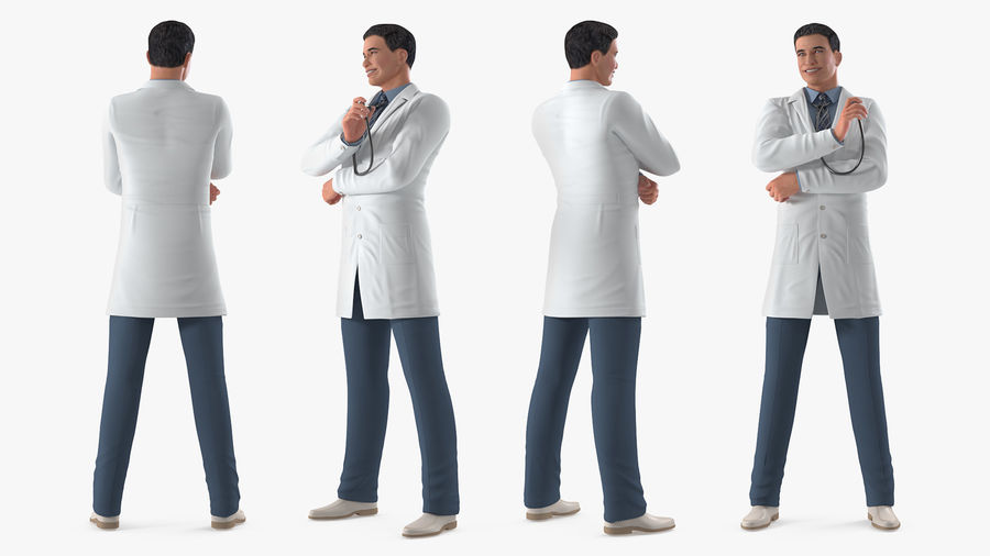 Male Doctor Rigged royalty-free 3d model - Preview no. 8
