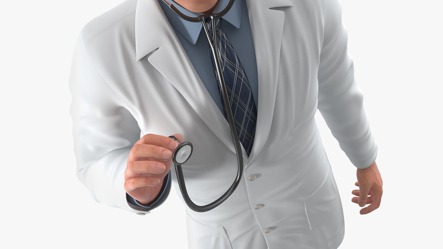 Male Doctor Rigged royalty-free 3d model - Preview no. 10