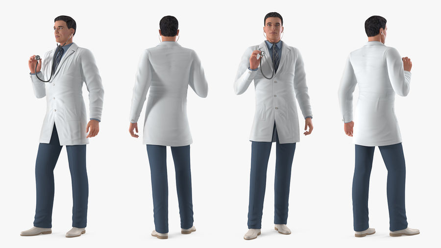 Male Doctor Rigged royalty-free 3d model - Preview no. 3