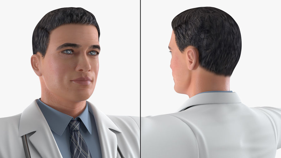 Male Doctor Rigged royalty-free 3d model - Preview no. 9