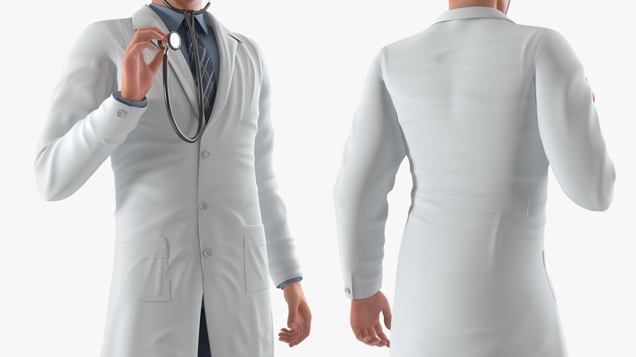 Male Doctor Rigged royalty-free 3d model - Preview no. 13